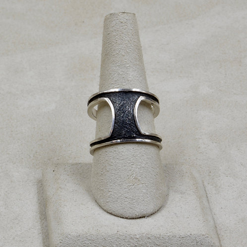 Oxidized Modern Sterling Silver 9x Ring by Roulette 18