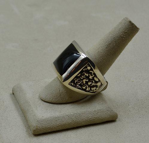 Sterling Silver Onyx Square & Skulls 11x Ring by JL McKinney