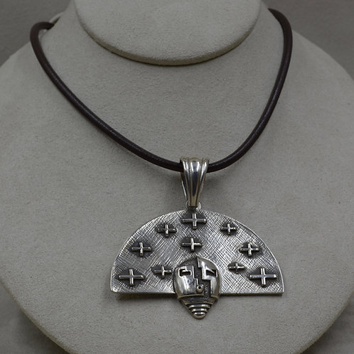 """Large """"Nurtured by Prayer"""" Sterling Silver with Stars Pendant by Joe Cajero"""