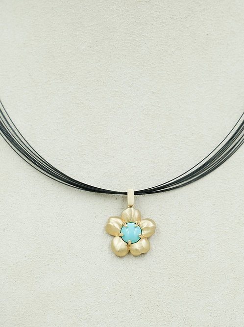 10k Gold Flower w/ Chinese Turquoise Pendent by Reba Engel