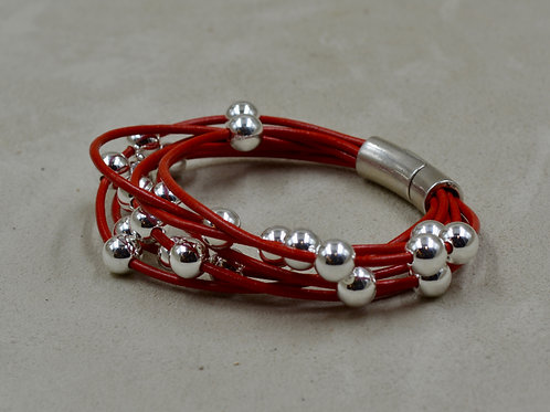 7 Strand Red Leather Bracelet w/ SS Beads by Sippecan Designs
