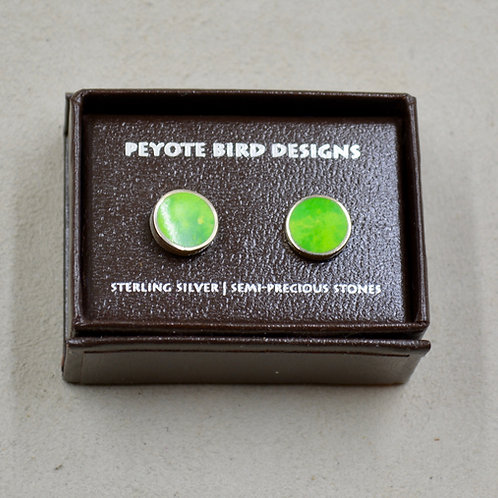 Flat Round Lime Turquoise Post Earrings by Peyote Bird Designs