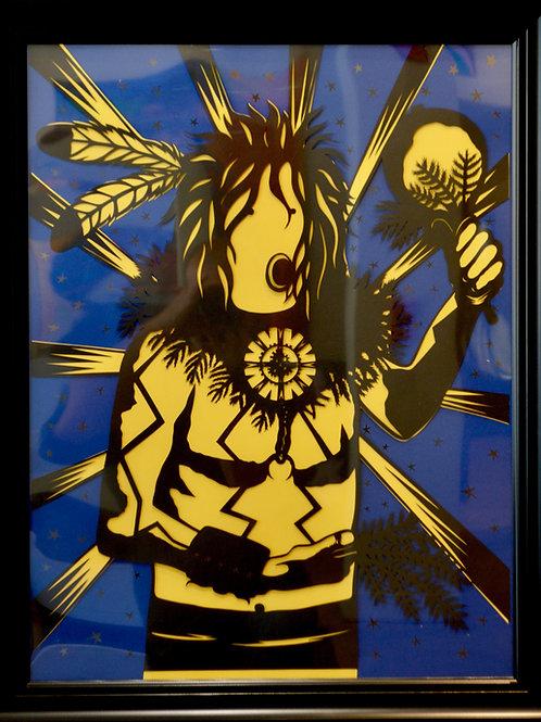 "'Yei on Yellow' Papercut Framed - 27"" x 21"" by Valerie Rangel"