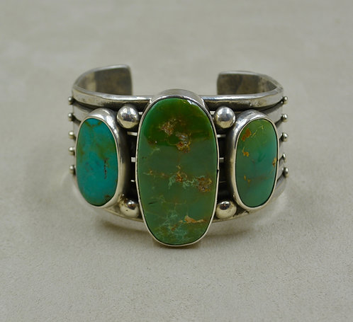 Ingot Cuff w/ 3 Stone Natural Royston Turquoise by Jerry Faires