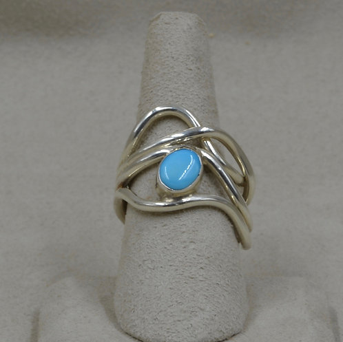 Sterling Silver Journey Ring with Sleeping Beauty Turquoise 7.5X by Tim Busch