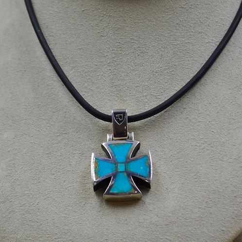 Kingman Turquoise & Sterling Silver Maltese Cross Pendant by JL McKinney