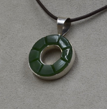 Sterling Silver Green Jade Lifesaver Pendant by Dukepoo