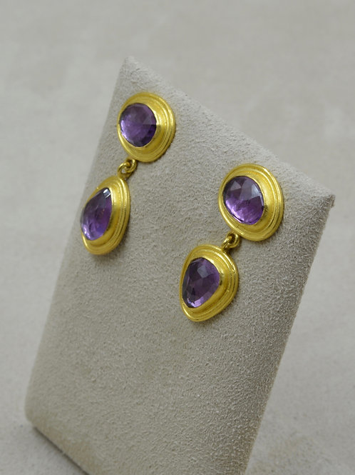22k Gold w/ Rosecut 9.26Cts Amethyst Post Earrings by Pamela Farland