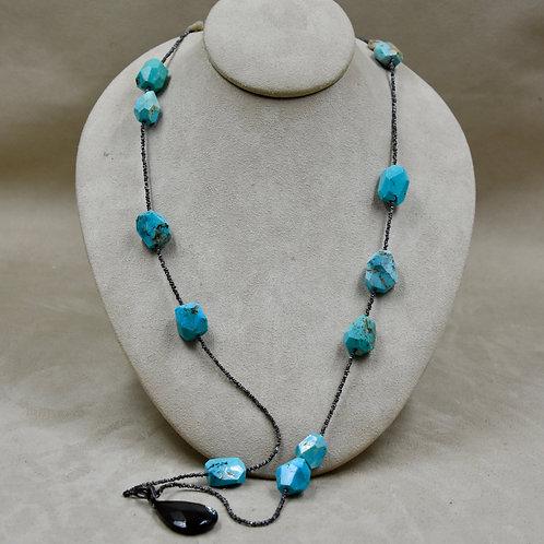 Fine Silver Thai Beads w/ Turquoise Nuggets w/ Bayonet Clasp by Reba Engel