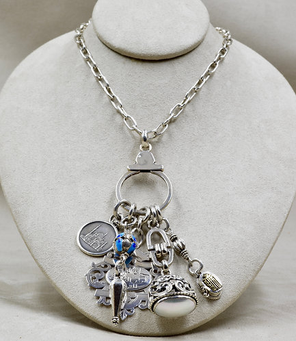 SS Charms, w/ Turkish Coin, & Sterling Silver Link Necklace by Melanie DeLuca