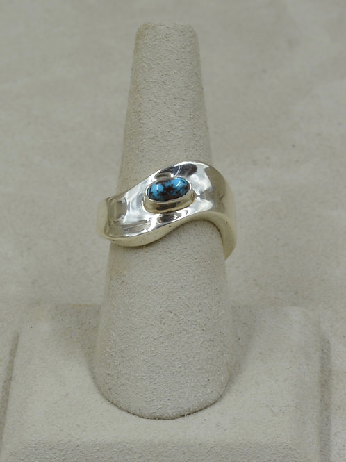 Sterling Silver Dished 7x Ring w/ Natural Bisbee Turquoise by Tim Busch