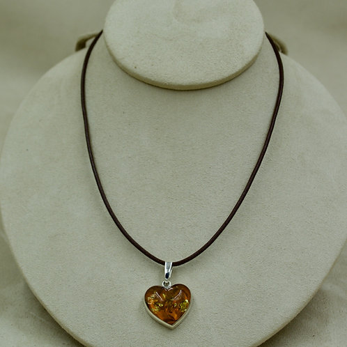 Gold Amber Small Heart & Sterling Silver Pendant by MTM Silver