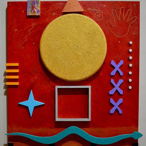"""Snake Dance Sun Moon"" - Acrylic/Mixed on Panel 3D - 41"" x 36"" - by Doug Coffin"