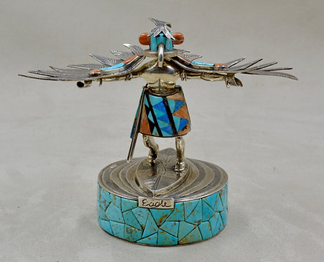 """Eagle"" SS Inlay Katsina w/ Multiple Stones by Charlie White Eagle"