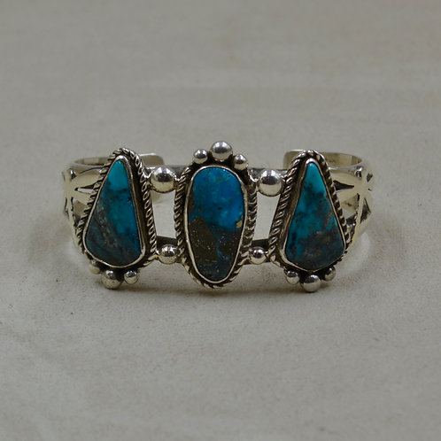 3 Stone Natural Morenci Turquoise, Dragonfly, Silver Cuff by Cheryl Arviso