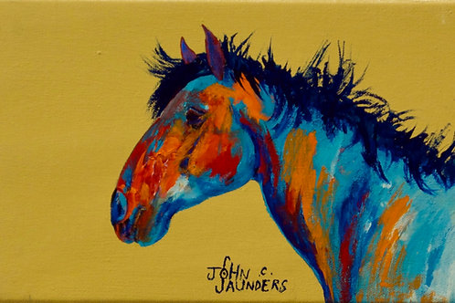 """'Mustang' - Acrylic on Canvas - 7"""" x 12"""" - by John Saunders"""