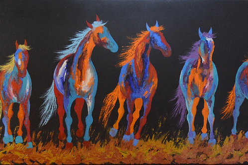 """'Lining Up' - Acrylic on Canvas - 16"""" x 43"""" - by John Saunders"""
