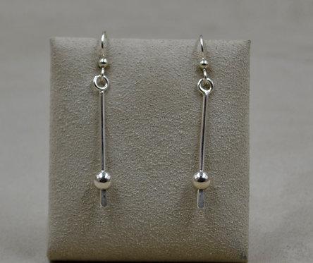 1 Bead Dangle Sterling Silver Earrings by Jacqueline Gala