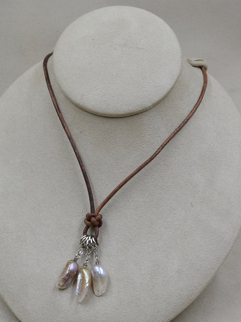 Feather Love Natural Pearls Necklace on Brown Leather by US Pearl Co.