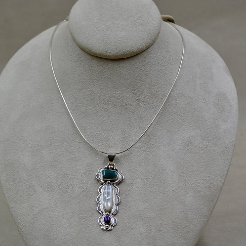Fox Turquoise, Mother of Pearl, Sugilite, Necklace by Cheryl Arviso