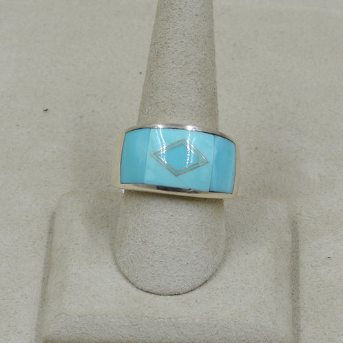 Domed Campitos Turquoise & Sterling Silver 12x Ring by GL Miller Studio