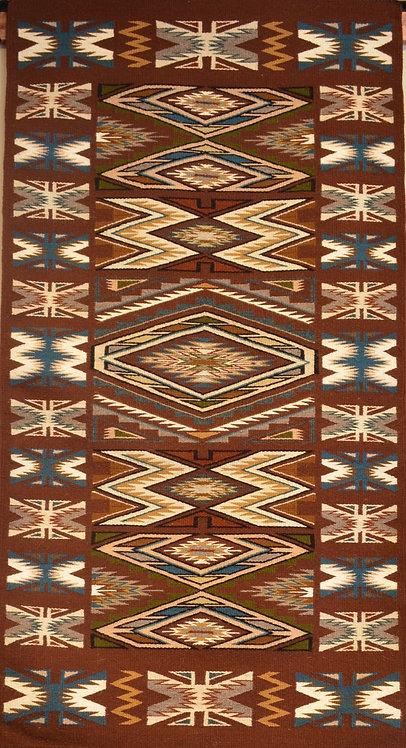 """Vangeline Thomas Teec Nos Pos Navajo Weaving Runner - 31.5"""" X 59"""