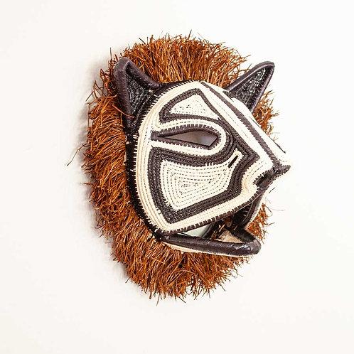 "Black and White Tiny Cat Emberá Mask by Felicinda Guaynora - 8""W x 8""H"