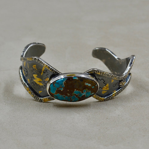 Boulder Royston Turquoise, 24k Foil, Keum Boo, Cuff by Cheryl Arviso