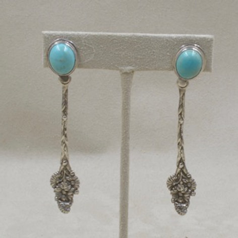 Royston Turquoise 4 O'Clock Sterling Silver Earrings by Jerry Faires