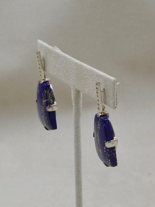 Natural Lapis 24CM Cab w/ Pyrite Marcasites Earrings by Reba Engel