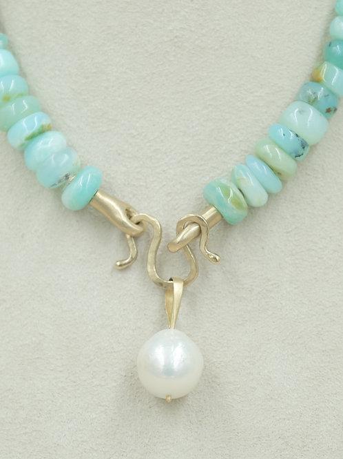 18k Gold Handmade Bale w/ Luster Fresh Water Pearl Pendant by Reba Engel
