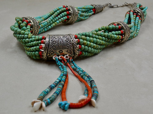 Handmade SS 10 Strand, Turquoise, w/ 3 Najas Necklace by James R. Nicholson