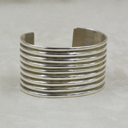9 Row Ingot Tuffa Cast Sterling Silver Cuff by Jerry Faires