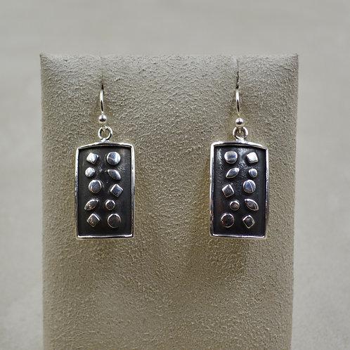 Oxidized Sterling Silver Raised Shape Rectangle Wire Earrings