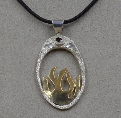 Sterling Silver & Fire Brass w/ Garnet by JP Arviso