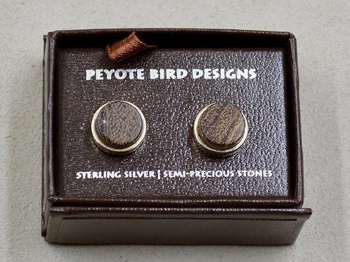 3-D Large Round Wood Post Earrings by Peyote Bird Designs