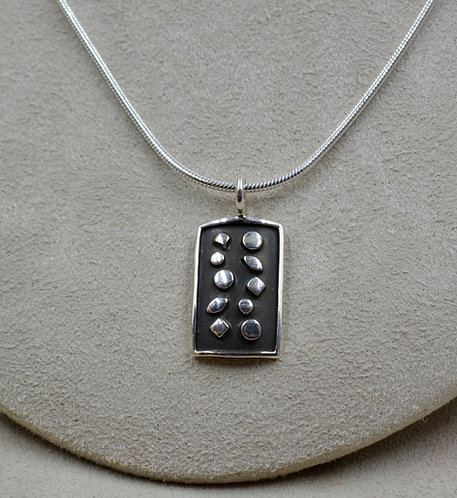 Oxidized Sterling Silver Raised Shapes Rectangle Pendant