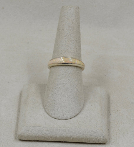 American Lab Pink Opal & Sterling Silver 7x Ring by GL Miller