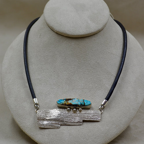 Candelaria Turquoise Pendant Lost Wax Corn Husk on Leather by Jacqueline Gala
