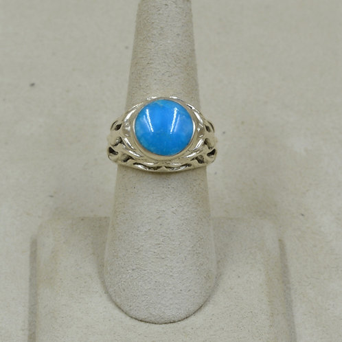 Kingman Turquoise & Sterling Silver 7x Ring by GL Miller Studio