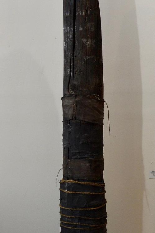"""Moon Pole Black"" - Mixed Media 8' Sculpture by Doug Coffin"