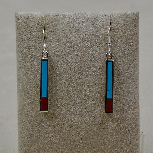 Sleeping Beauty Turquoise, Coral, Silver Dancing Stick Petite Earrings by Lente