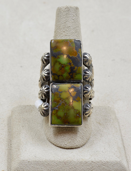 SS Ingot w/ Dbl Rect. Stab Chinese Turquoise 10.75x Ring by Red Rabbit Trading