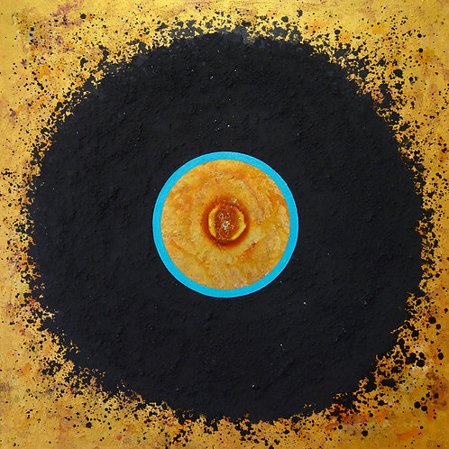 """Ceremonial Sun Series"" Turquoise Circle on Yellow - 36""x36""- by Doug Coff"