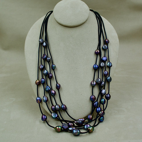 Cultured Freshwater Pearl Blue Diva Necklace on Black Leather by US Pearls