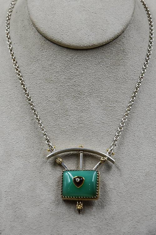 Chrysoprase, Garnet, Diamond 22k/18k Necklace by Dave M Romero