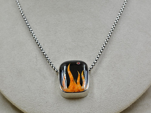 Flame Pendant w/ S. Silver w/ Black Jade, Spiny Oyster, Opal by GL Miller