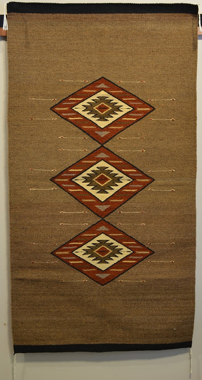 "Fino Brown with 3 Diamonds and No Fringe Zapotec Weaving - 32"" X 60"""