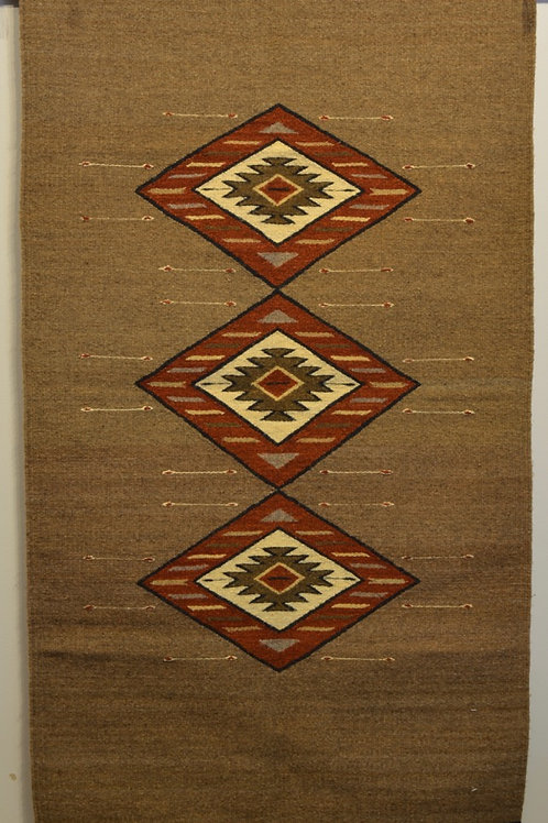 "Fino Brown with 3 Diamonds and No Fringe Zapotec Weaving - 32"" X 60"""