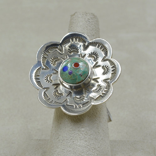 Green Turquoise & Sterling Silver Flower 6x Ring by Veronica Benally